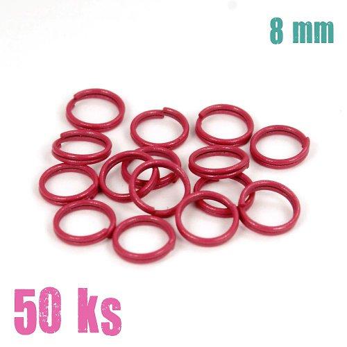 Tmavorůžové dvojité kroužky 8 mm, 50 ks