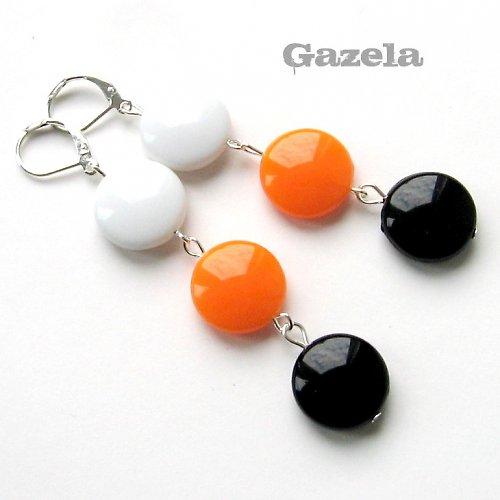 Náušnice Tří barev s oranžovou