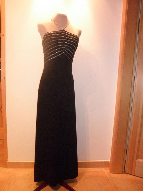 Dlouhé černé společenské šaty 221-vel. 36