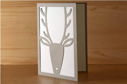 Přání s jelenem - pastelově šedá