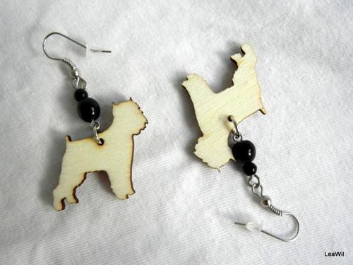 Naušnice pes grifonek černý