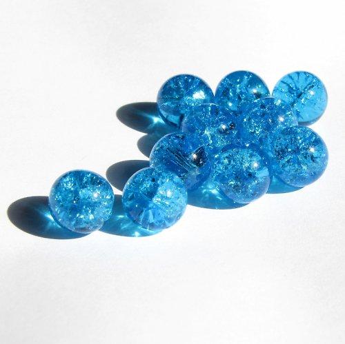 Modré, práskané korálky 12 mm, jedno balení = 4 ks