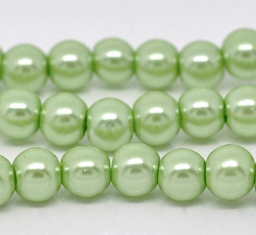 perly skleněné / zelená - světle / 8mm/ 14ks