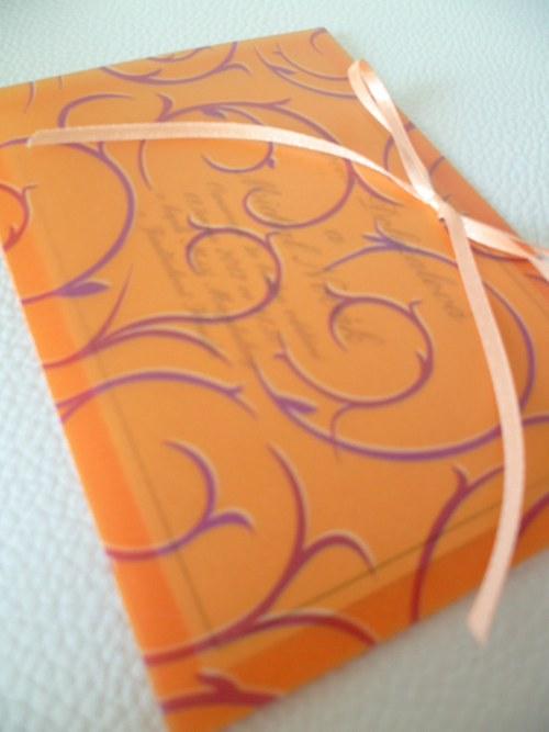 oranžové svatební oznámení,pergamen papír baroko