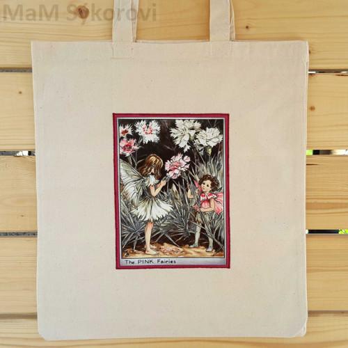Bavlněná taška s aplikací květinové víly