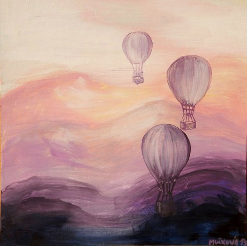 Balóny nad romantickou krajinou
