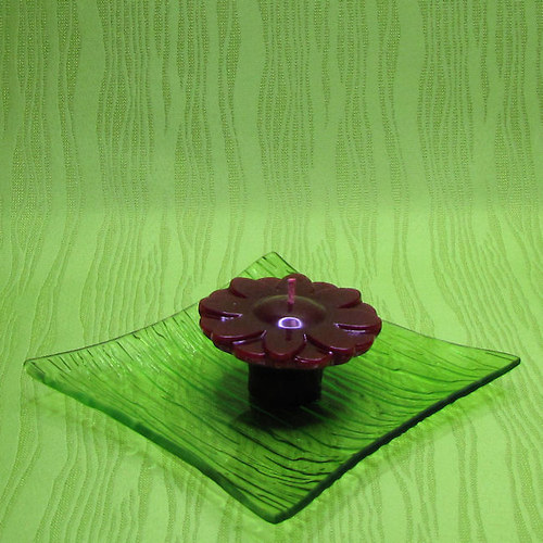 Svíčka plovoucí kopretina červená - broskev