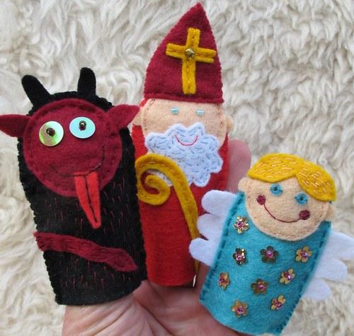 Čert, Anděl a Mikuláš - prstoví maňásci 3 kusy