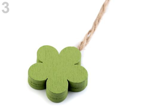Dřevěný květ - zelená (4ks)