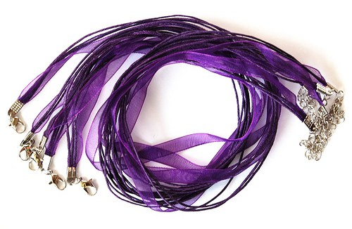 Náhrdelník - organza stuha fialová