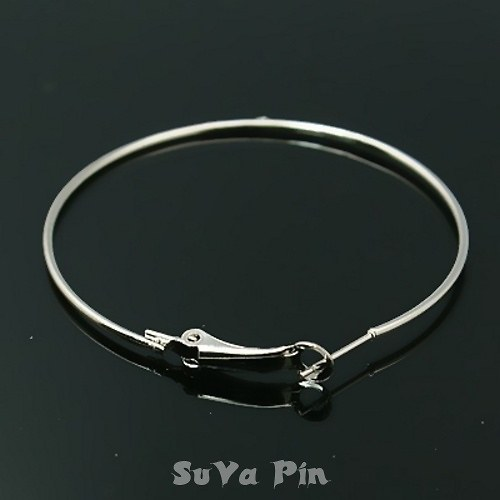Háčky kruh 50 mm stříbrná barva , 2 ks