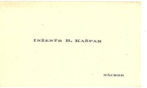 Vizitka inženýr Kašpar Náchod