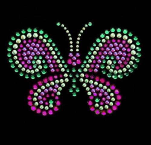 Motýl - Štrasový nažehlovací motiv, kamínky