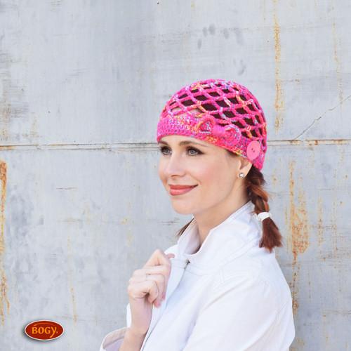 výrazná síťovaná čepice, růžová síťovka na hlavu