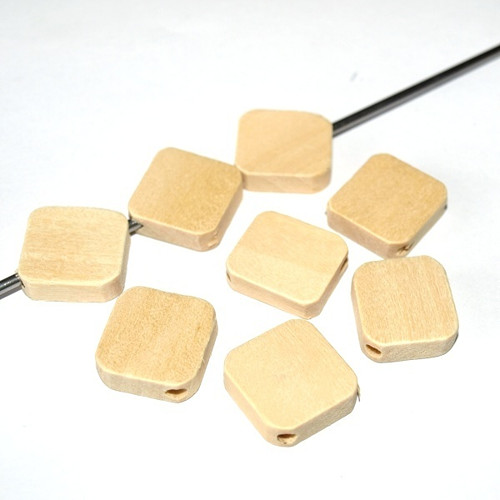 Dřevěné korálky natural 17x17x5mm (cena 8ks)