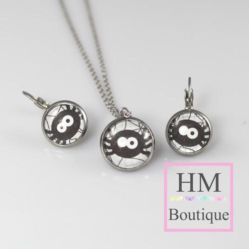 ocelový set -náušnice a náhrdelník černí pavoučci