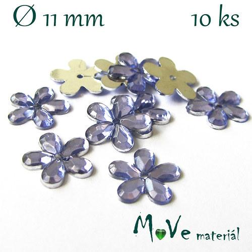 Květina plast Ø11mm našívací  10 ks sv. fialová
