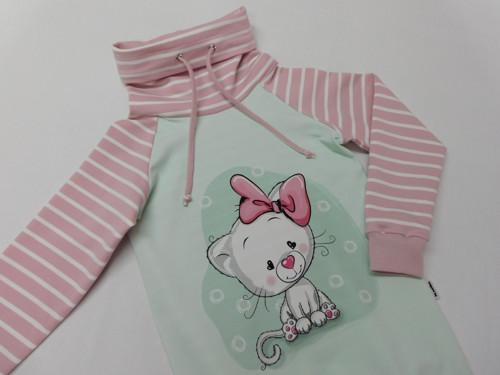 Dívčí mikinošaty - Kočička s mašličkou