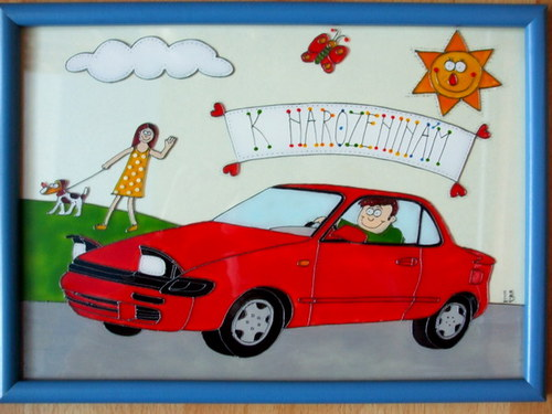 Obrázek k narozeninám - auto
