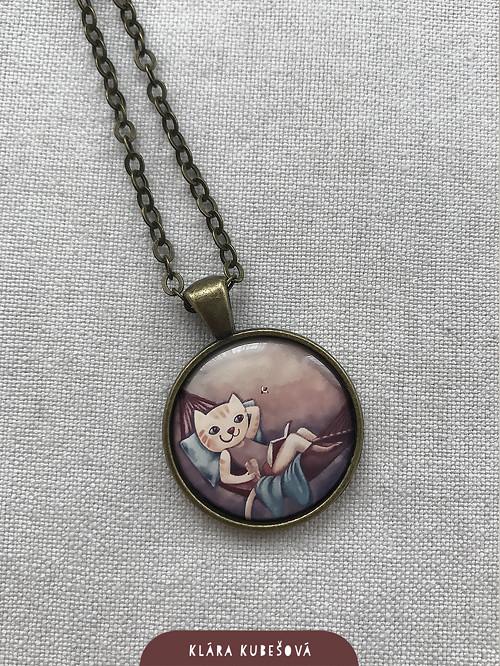 Kočka v houpací síti - náhrdelník