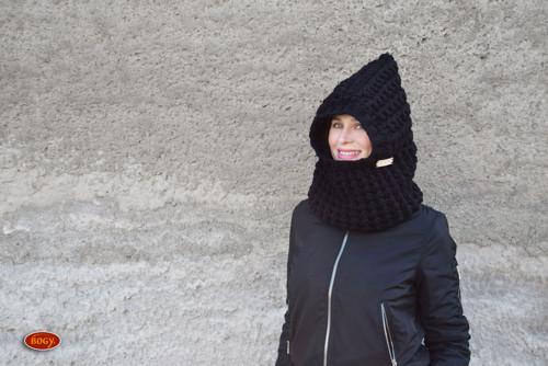 černá zimní háčkovaná kapuce, teplá kukla