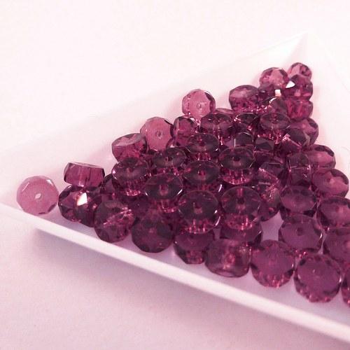 Broušené rondelky 6 x 3 mm sytě fialové 30 ks
