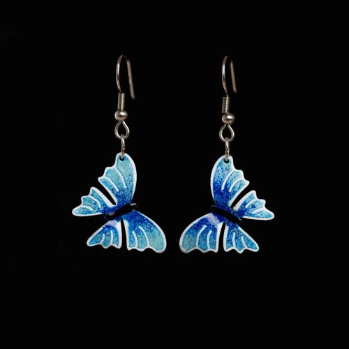 motýlí náušnice modré
