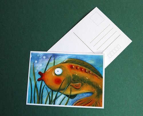 Karp Karel plave v poštovním rybníku