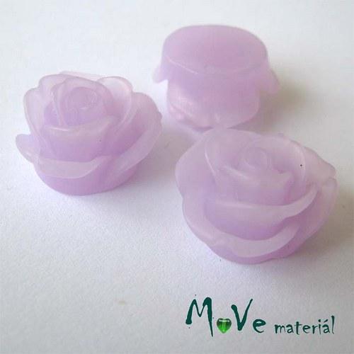 Kabošon květ průsvitný A2 resin - 2ks, sv. fialová
