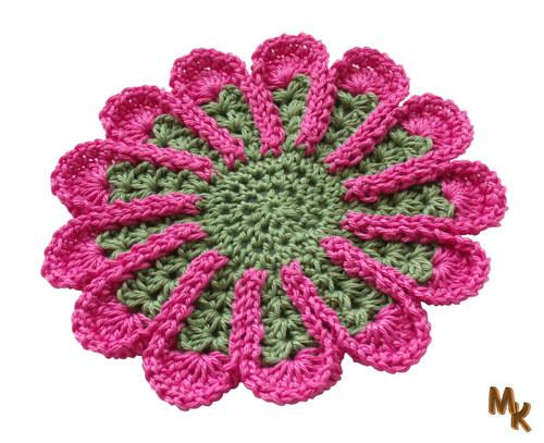 Podložka - květina - růžovozelená