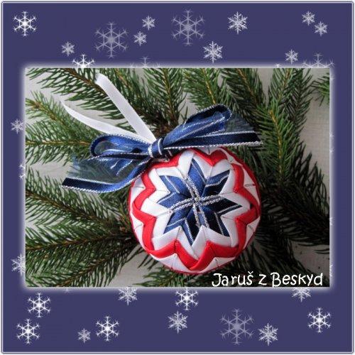 Vánoční koule (červená, bílá a modrá)