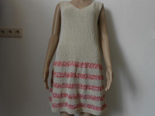 Letní pletené šaty - hedvábí natur+bavlna