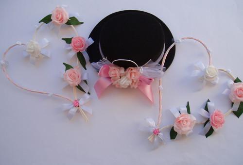 Svatební set na auto-růžový