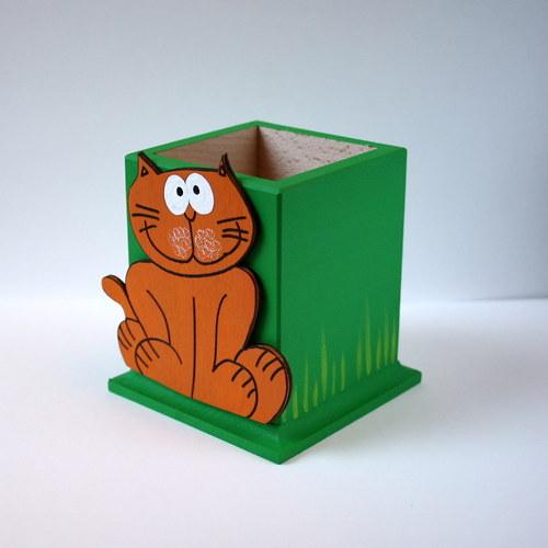 Ručně malovaný tužkovník s kočkou