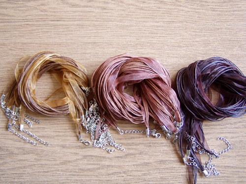 Organza stuha-závěs na náhrdelník tmavě hnědý
