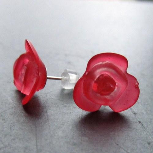 Náušnice puzetky kytičky červená