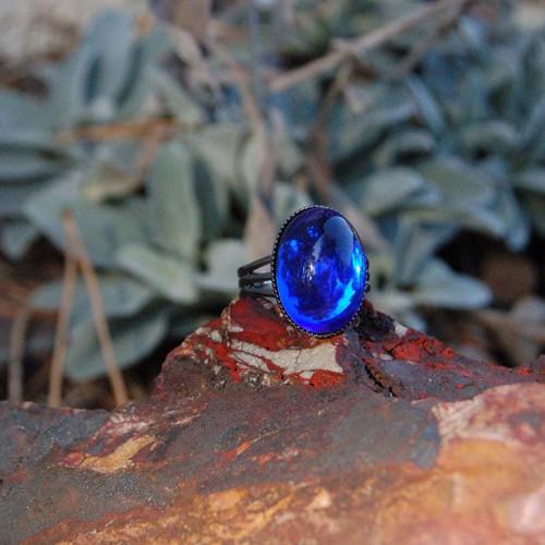 Prsten čirý kobaltový 18x13 mm