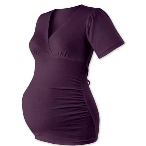 Těhotenská tunika na zavazování- švestková