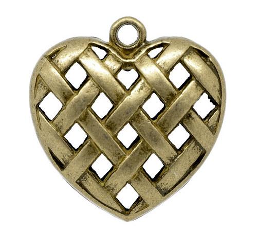 srdce pletené 3D/ bronz/ 36x35mm/ 1ks