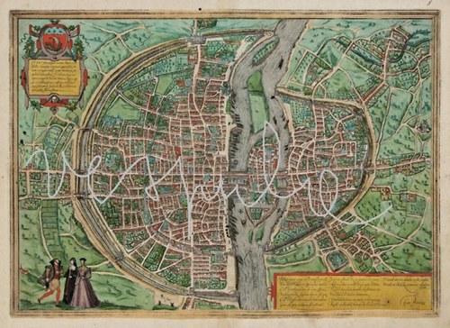 Mapa Paříž 1577