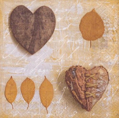 Ubrousek - dřevená srdce a listy (3 ks - VÝPRODEJ)