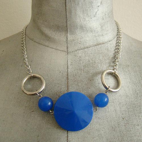 náhrdelník modrostříbrný