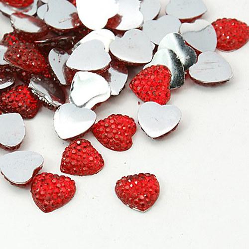 Kabošon kamínky srdce/ červená/ 10mm/ 10ks
