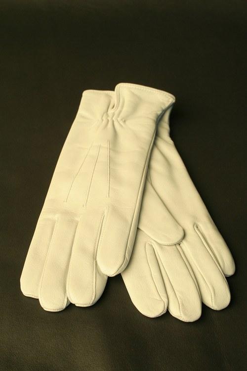 Kožené rukavice - bílé