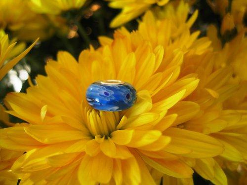 MilleFiori - tisíce květin - modrá - jádro-STŘÍBRO