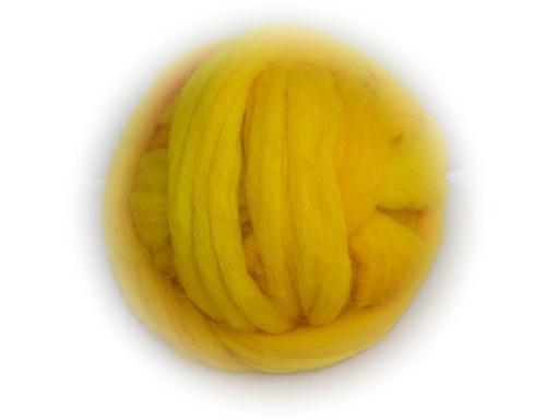 Barvená ovčí vlna - žlutá (100g)