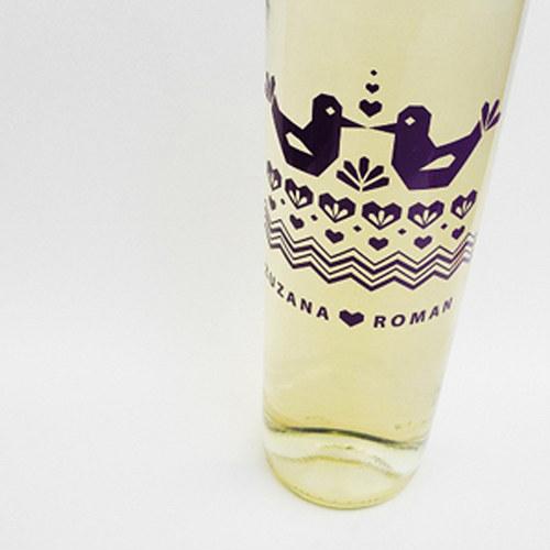 FOLK - etikety na svatební víno (10ks)