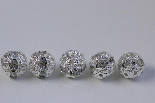 Šatonové kuličky 8mm - crystal - 5ks