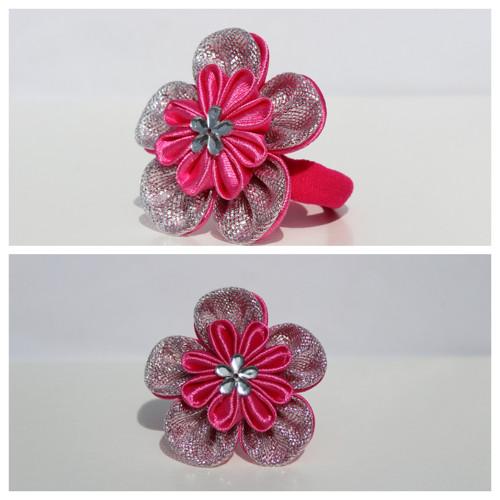 Gumička do vlasů - sytě růžovo-stříbrný květ