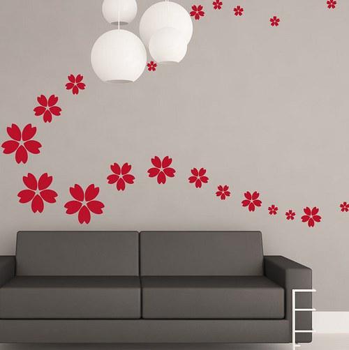 Kvety 79ks od 4 do 18cm Nálepka na stenu 263n